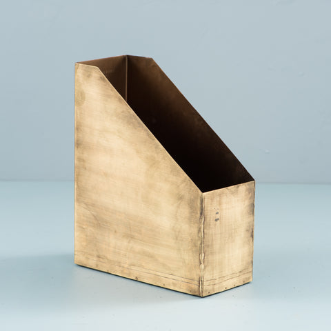 standing metal file folder with brass finish