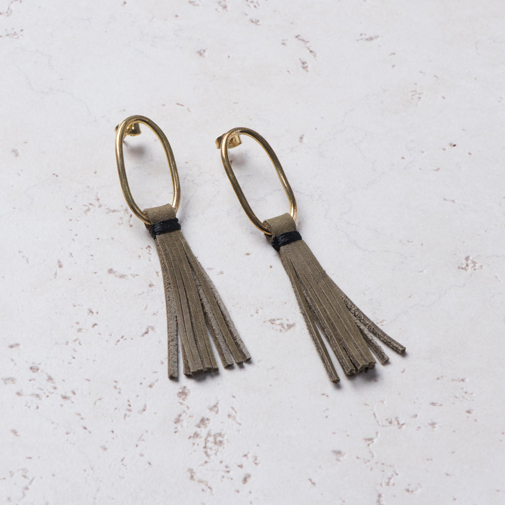 brass hoop earrings with olive leather tassel