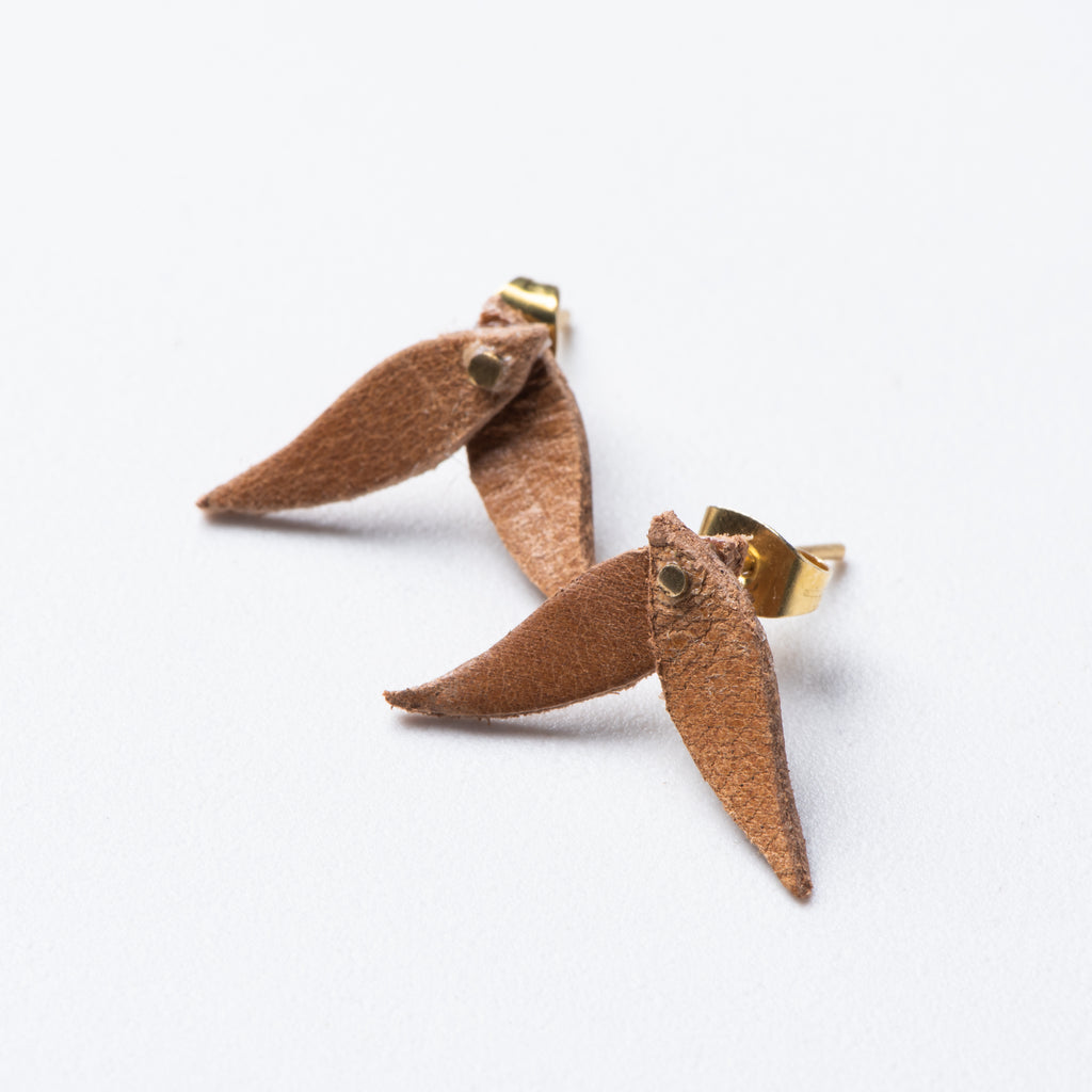 small brown leather leaf shaped earrings