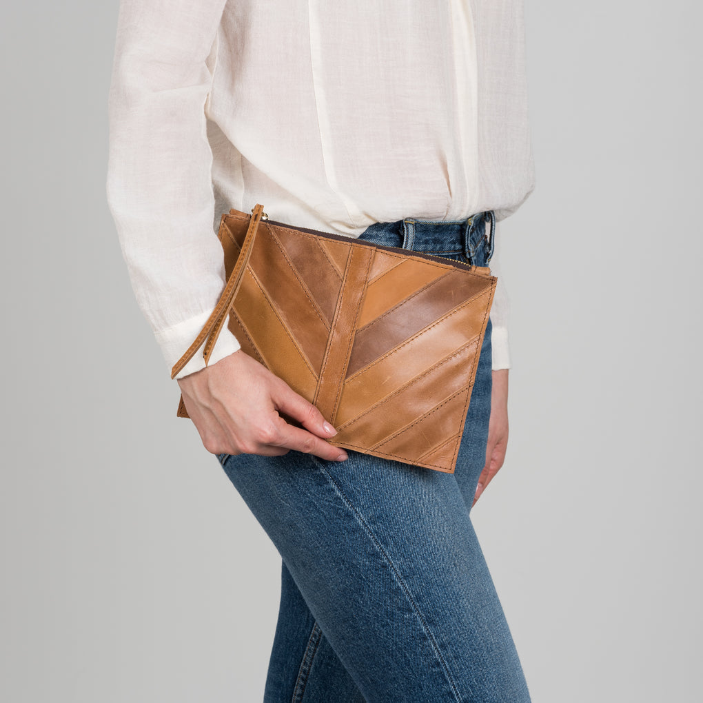 brown leather pouch clutch