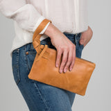 brown leather wristlet clutch
