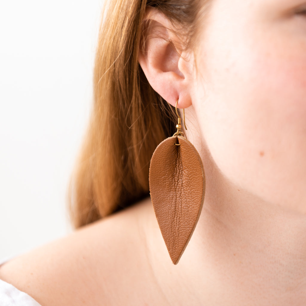 brown leather leaf shaped earring