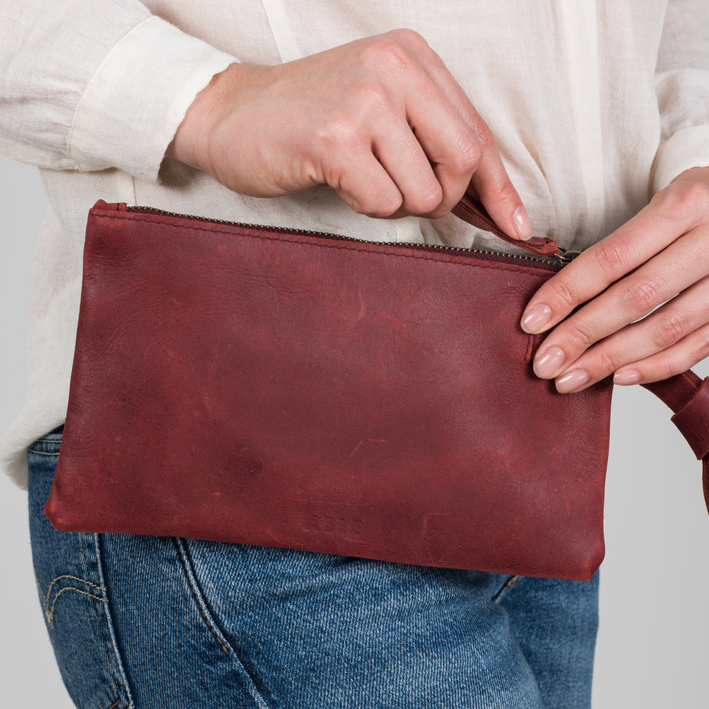 burgundy leather wristlet clutch