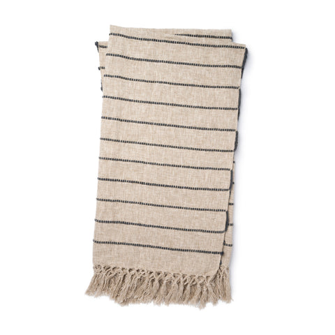 beige linen colored throw blankets with small charcoal stripes and tassel fringe