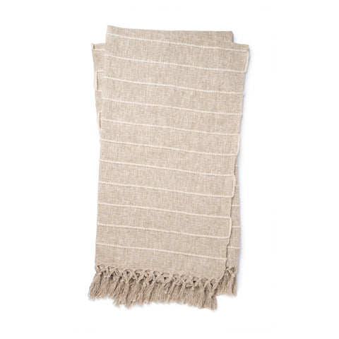 beige linen colored throw blanket with small ivory stripes with tassel fringe