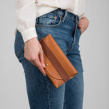 brown leather wallet with red leather strap