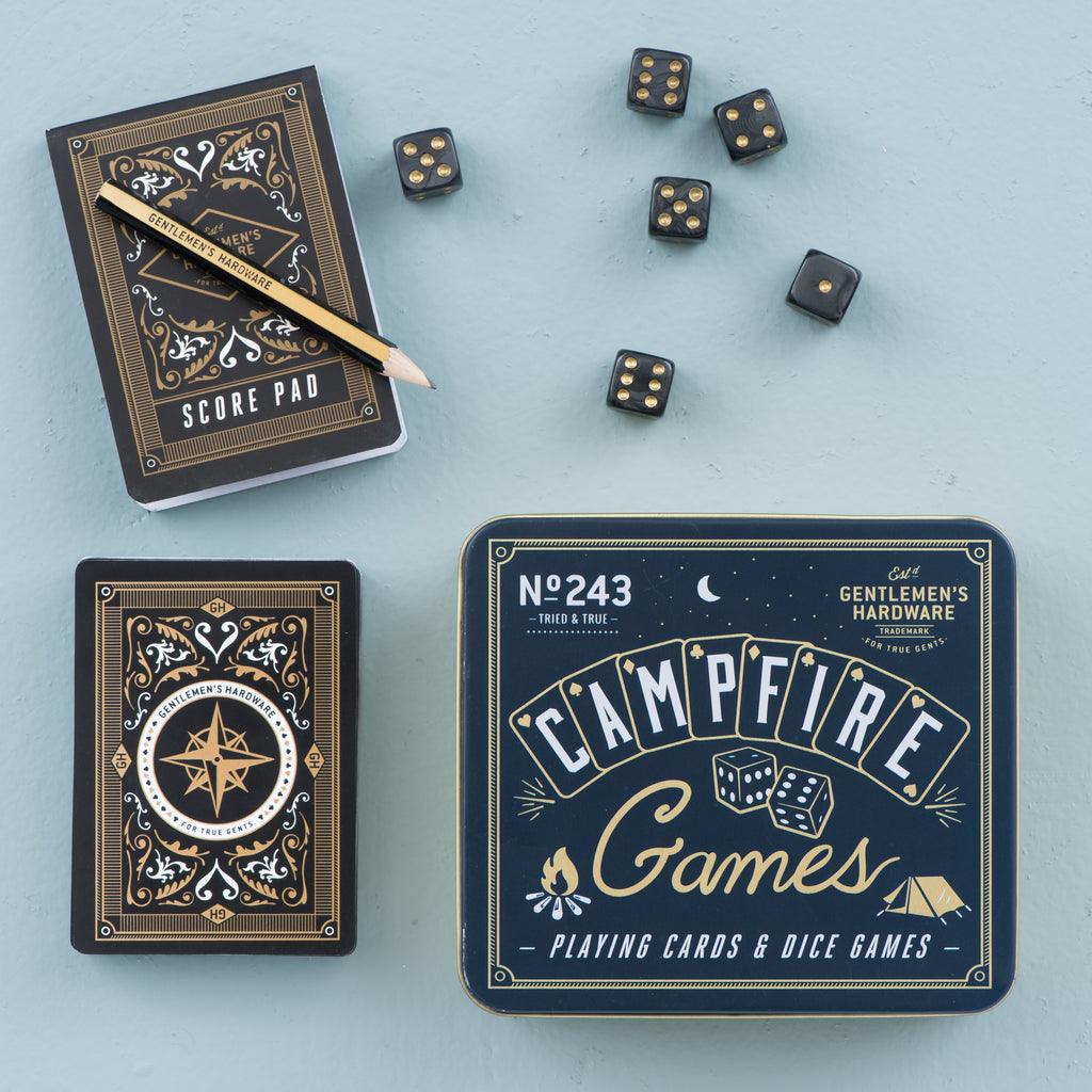 campfire games set with playing cards and dice in metal tin set