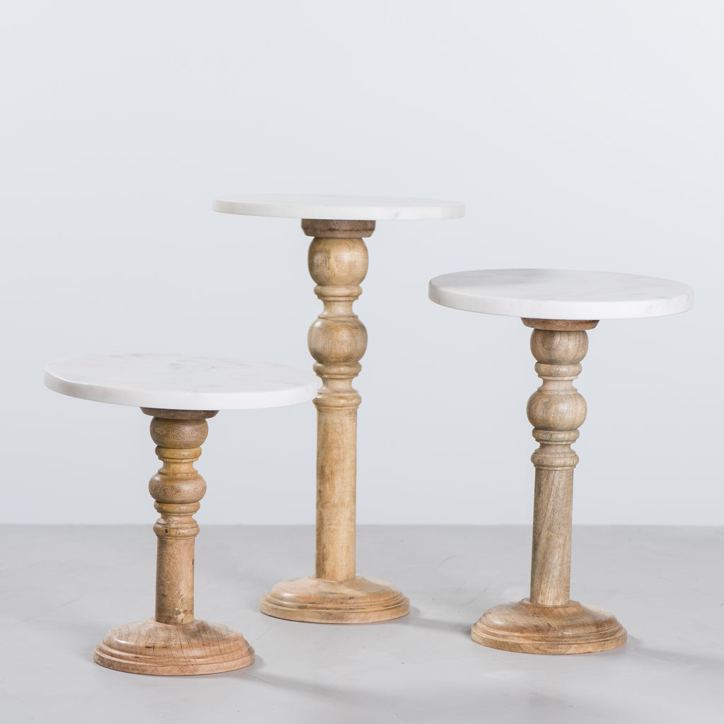 wood pedestal with marble top