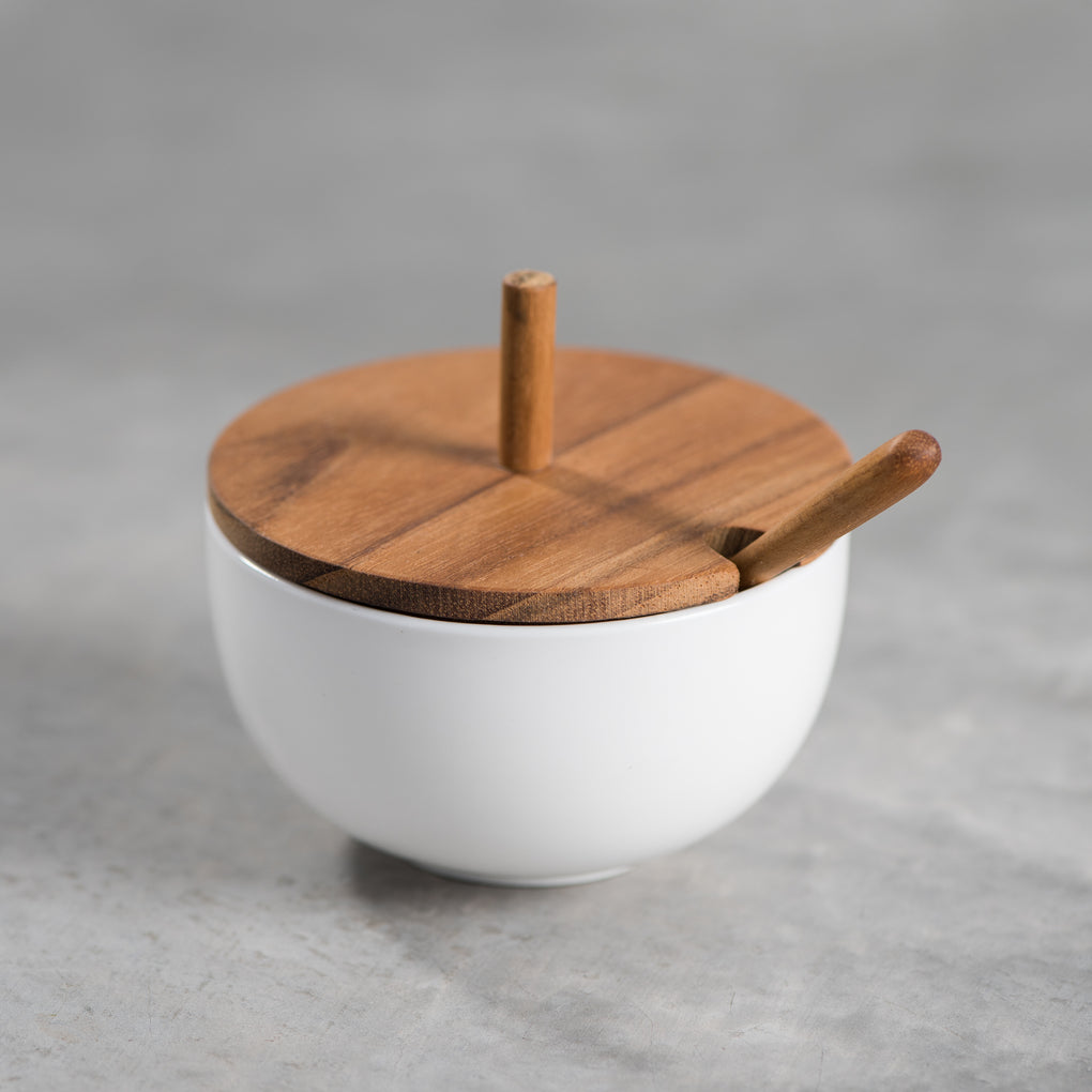salt cellar with wood lid and spoon