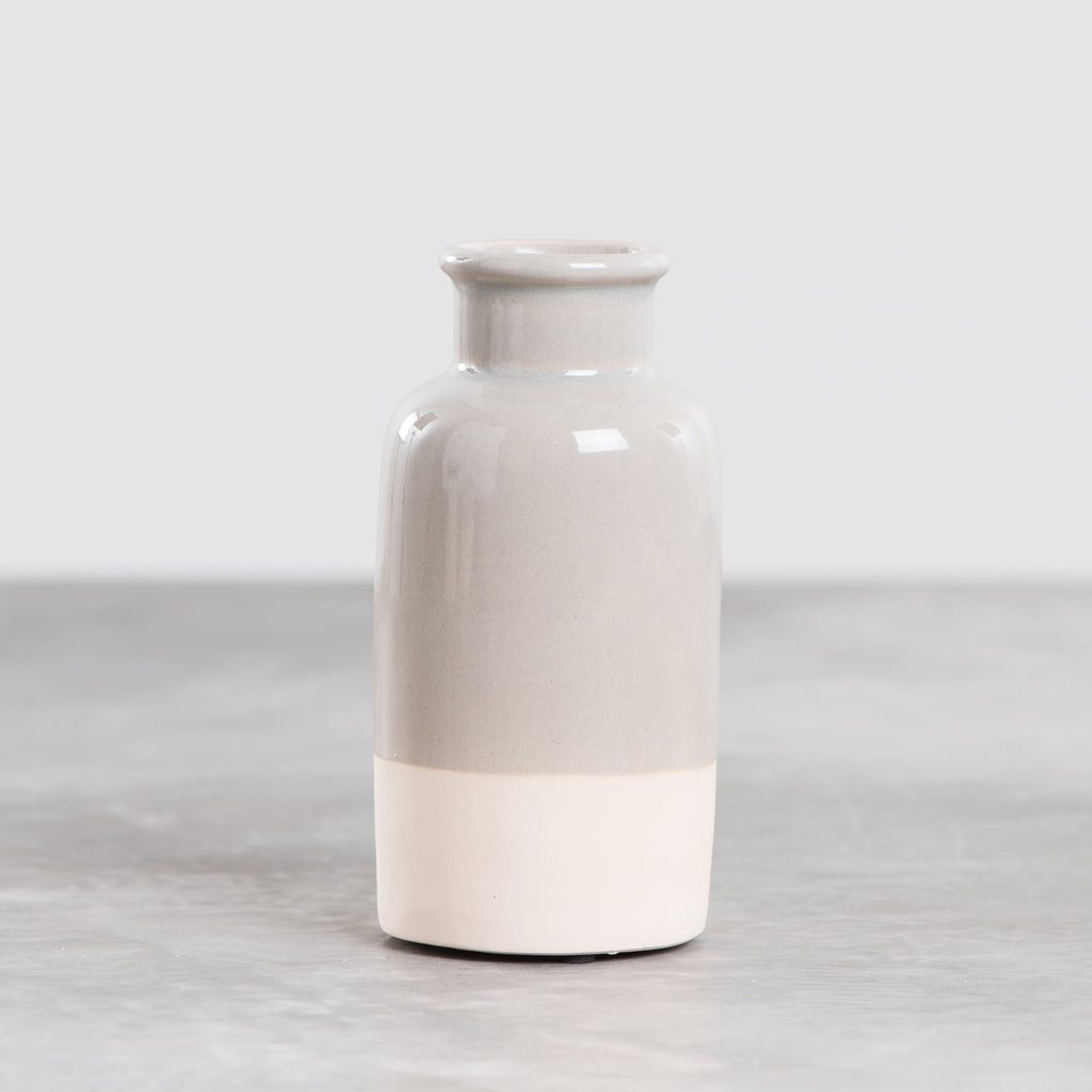 grey and white ceramic apothecary style vase