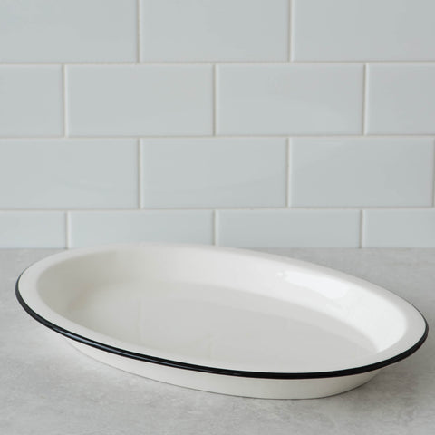 Ceramic Black Rim Oval Platter