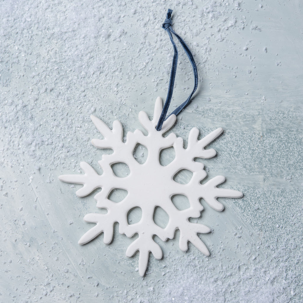 white ceramic snowflake christmas ornament