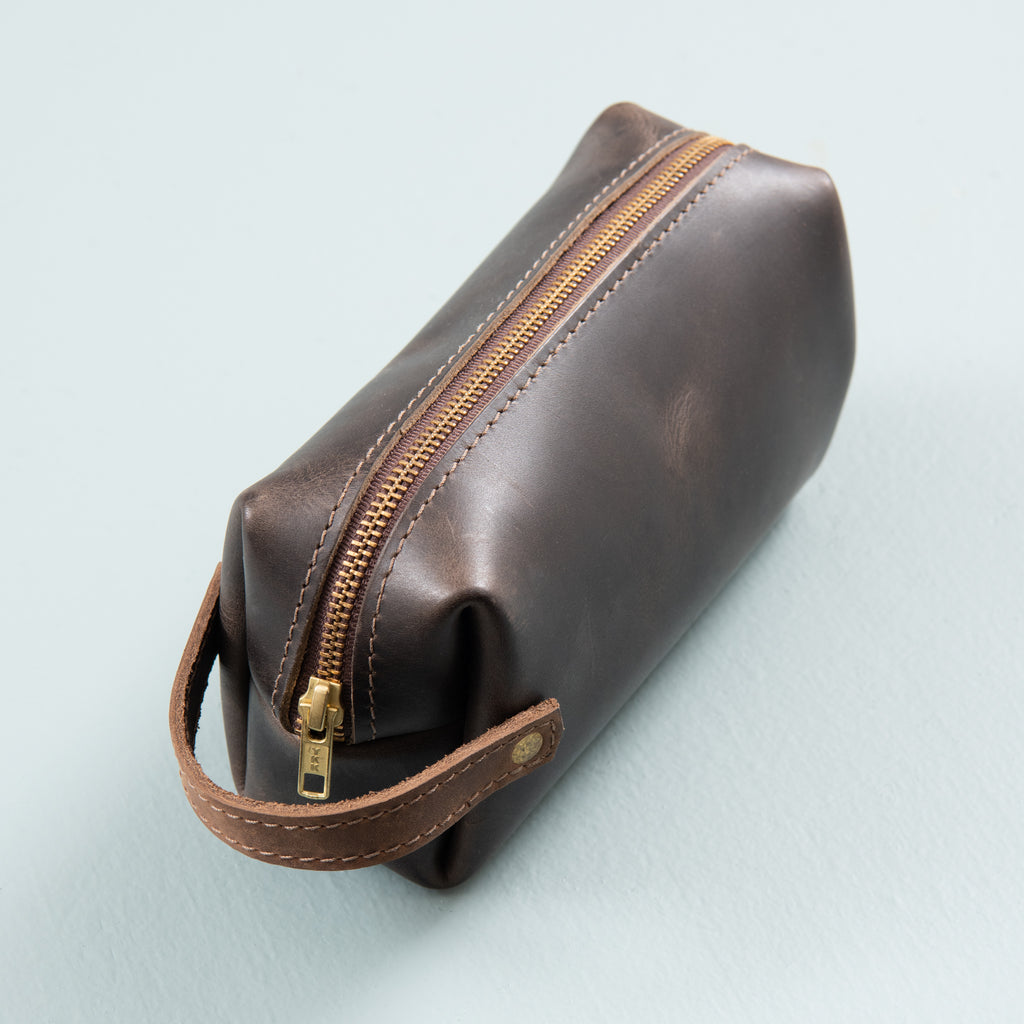 charcoal brown leather dopp kit