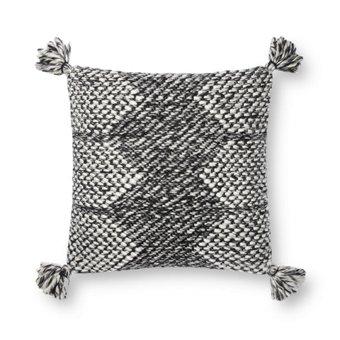 black modern lumbar pillow with white geometric stitching and tassels