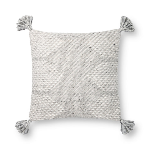 grey modern square pillow with white geometric stitching and corner tassels