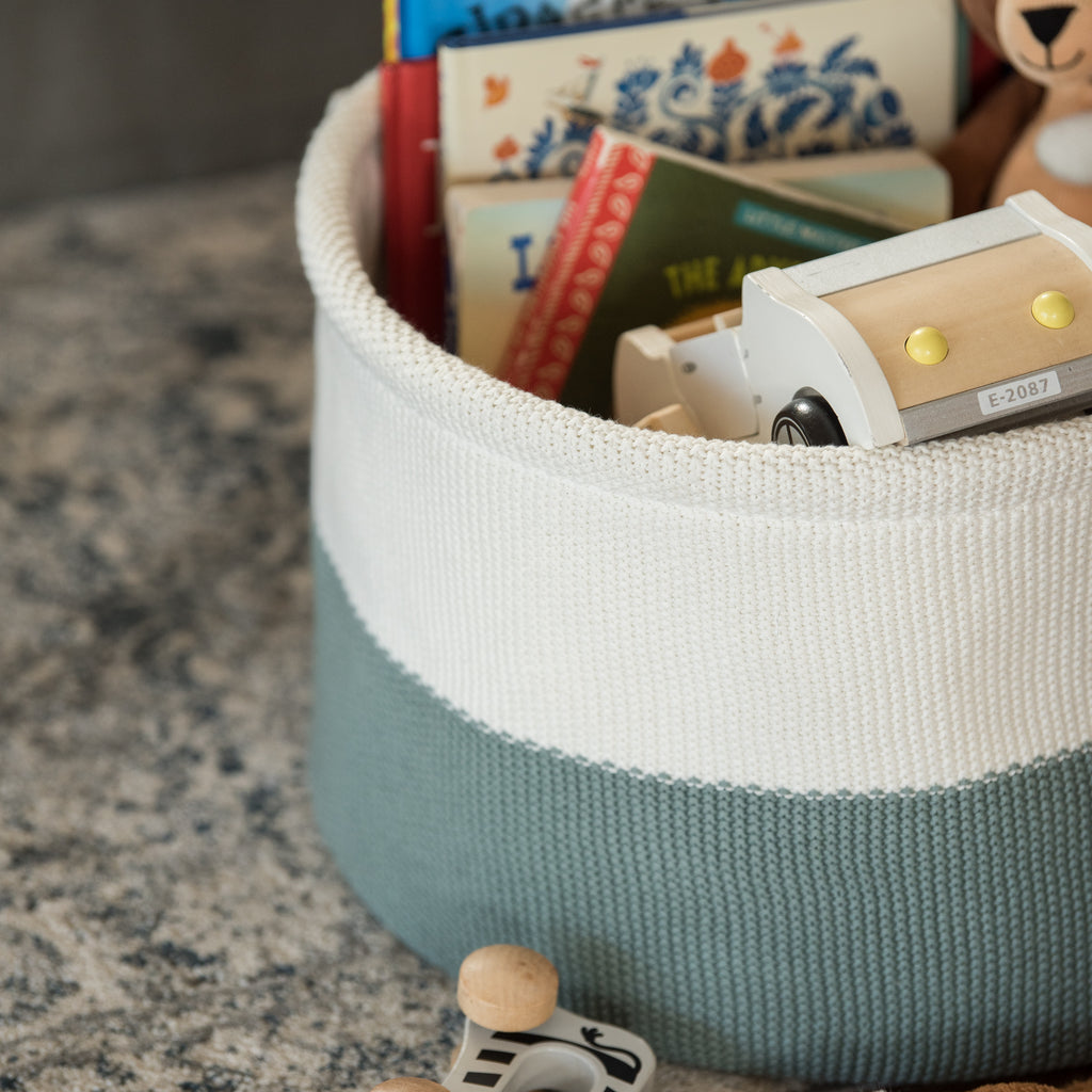 color blocked knit storage basket