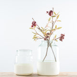 color blocked white glass vase