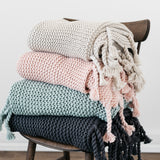 knit throw blanket with tassels