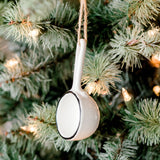 black rimmed ceramic pan christmas ornament
