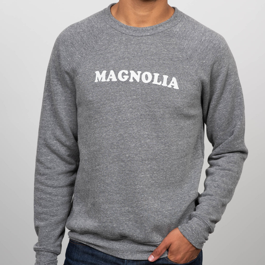 heather gray sweatshirt with Magnolia in cooper font