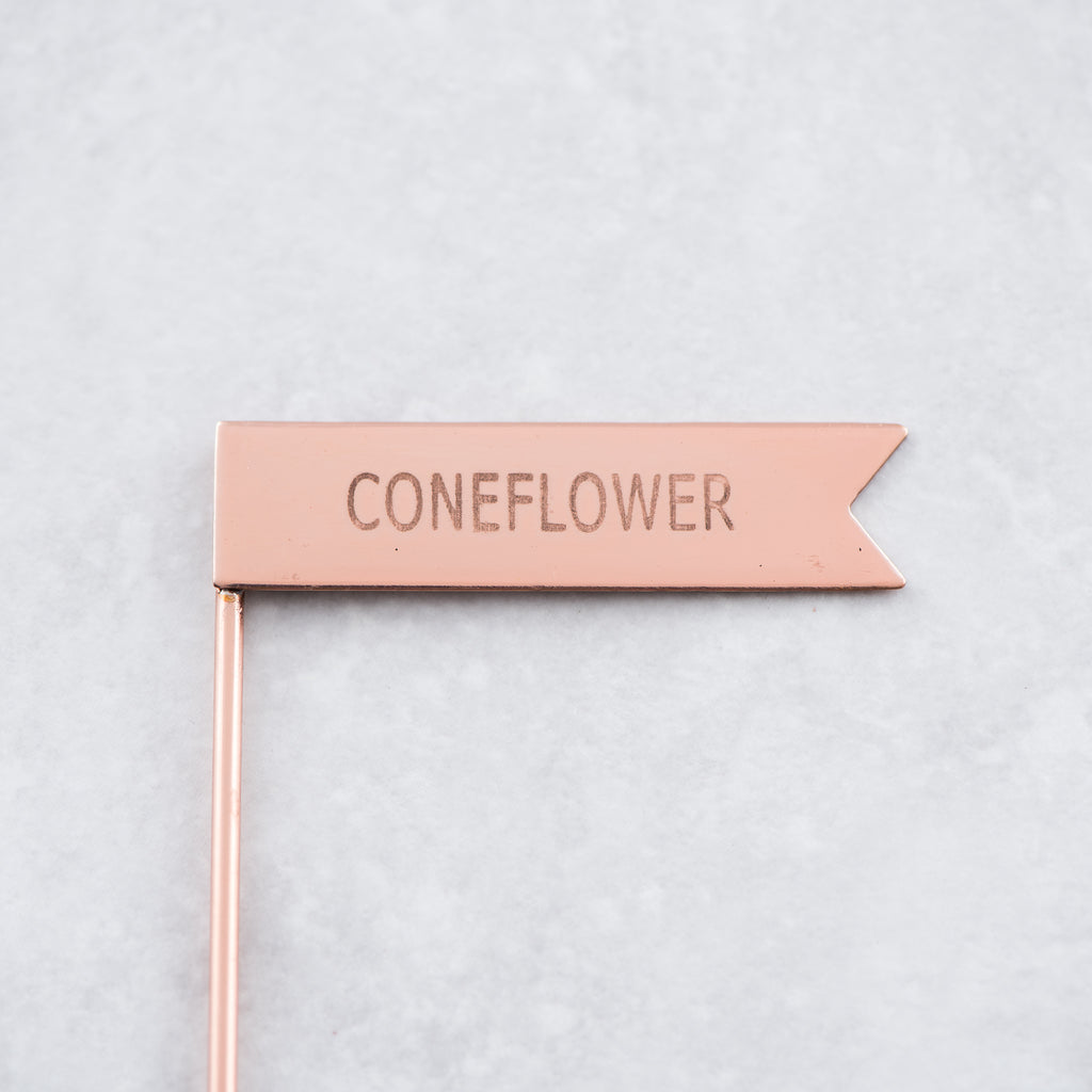 copper metal coneflower plant marker