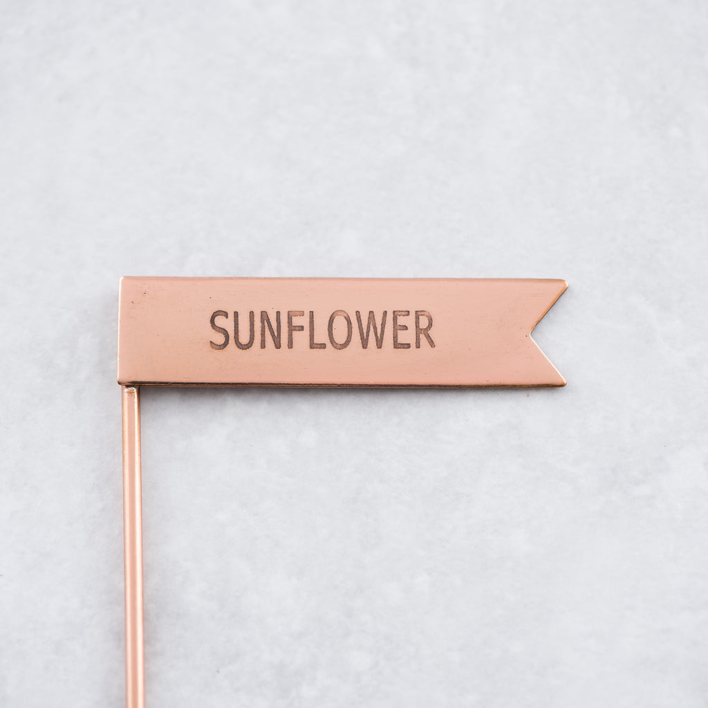 copper metal sunflower plant marker