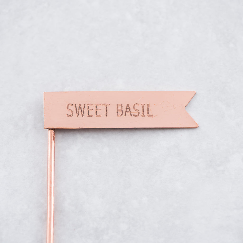 copper metal sweet basil plant marker