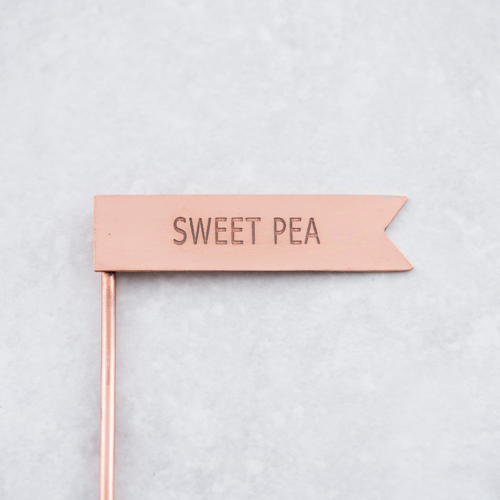 copper metal sweet pea plant marker