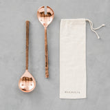 copper serving spoons with bag