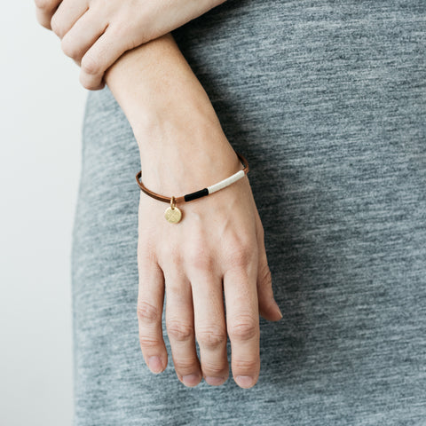 Natural & Ink Square Bangle