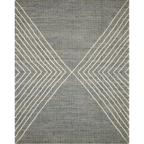 modern indigo-grey rug with cream geometric triangle line detail