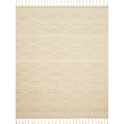 ivory moroccan style rug with white diamond pattern detail and cream tassel fringe