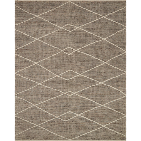 modern taupe brown area rug with white diamond pattern lined detail