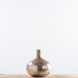 short glass copper vase