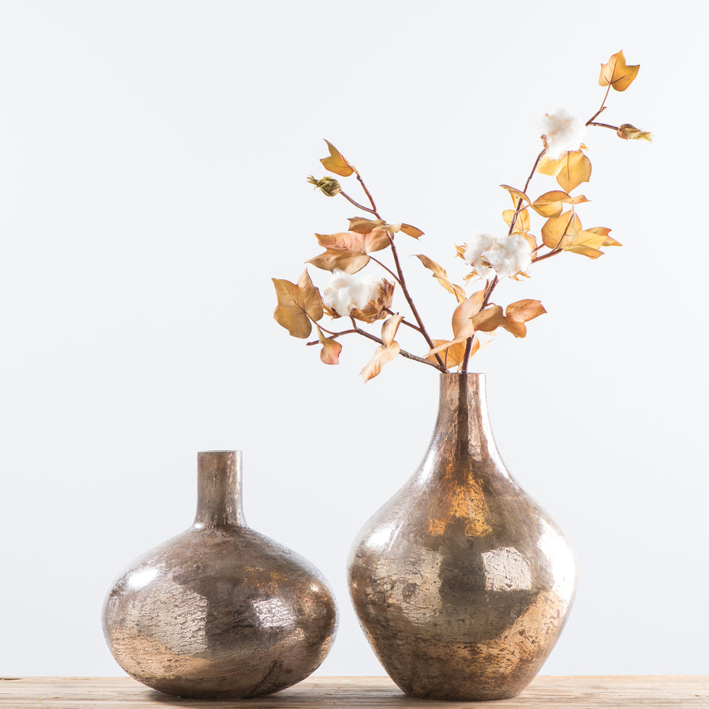 teardrop copper glass vase