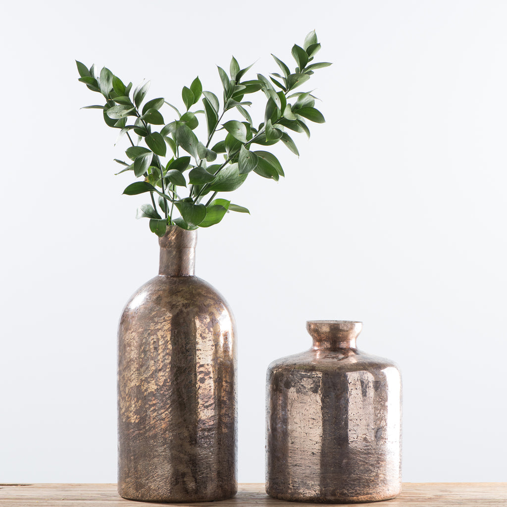 cylindrical copper glass vase