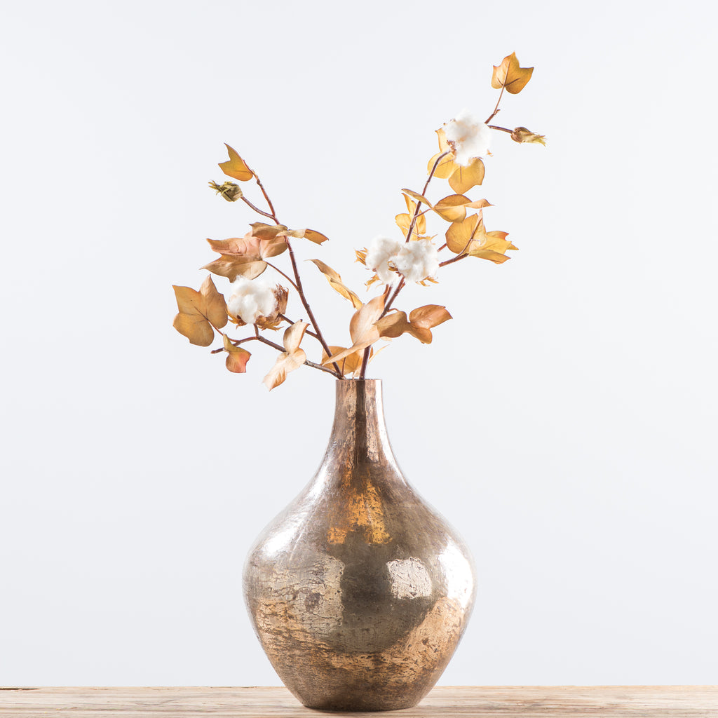 large teardrop glass copper vase