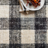 black and cream plaid patterned rug