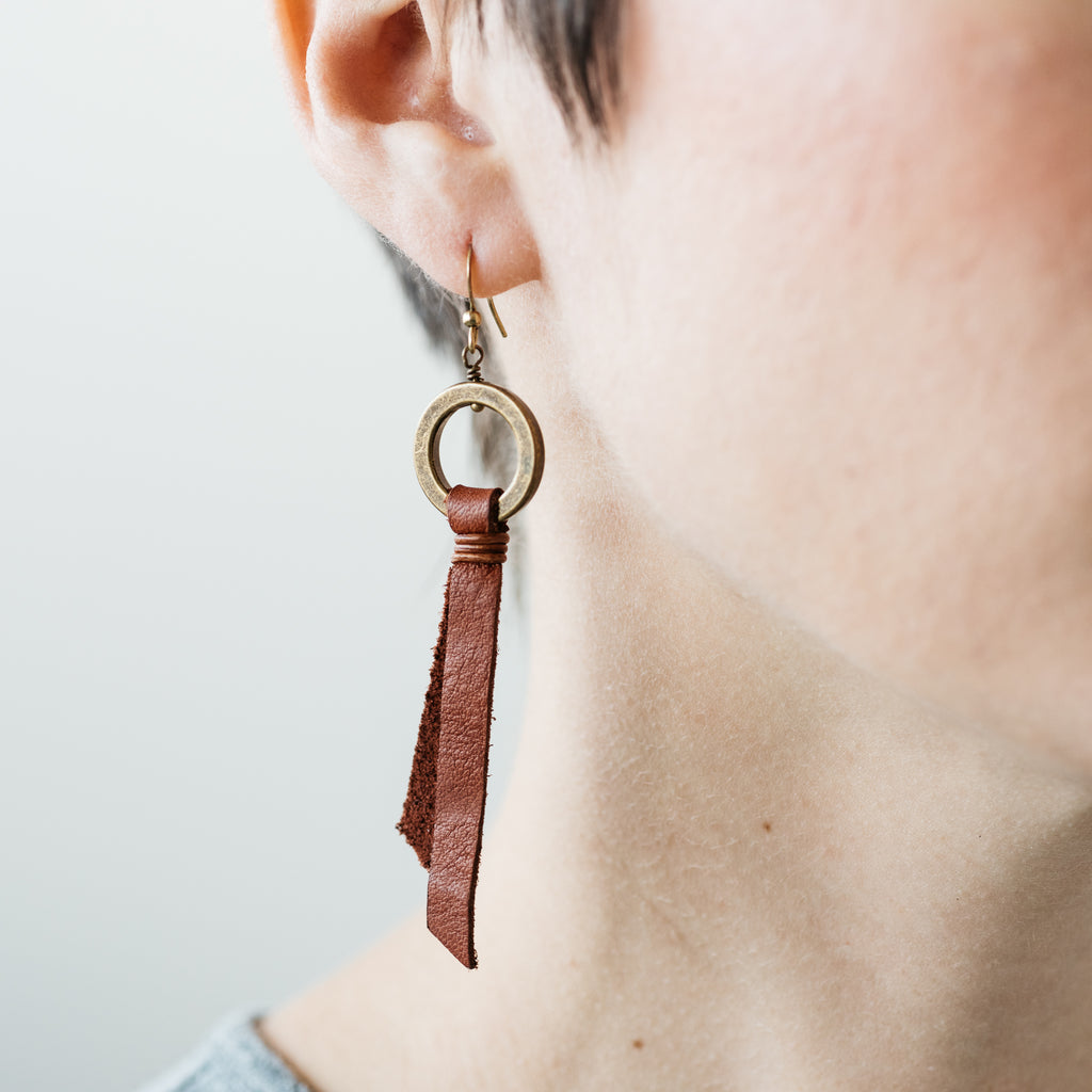 dark brown tassel earrings with brass hoop