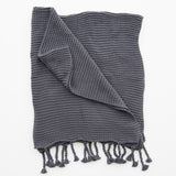 dark grey knit blanket with tassels.