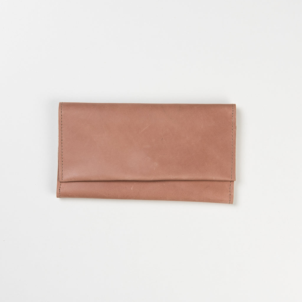 pale pink leather fold-over wallet
