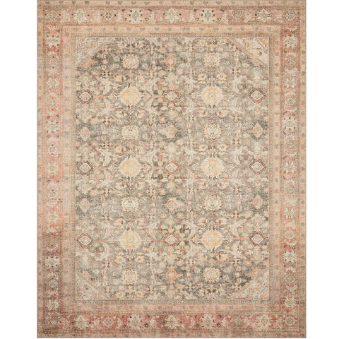 charcoal and blush distressed traditional rug with floral detail