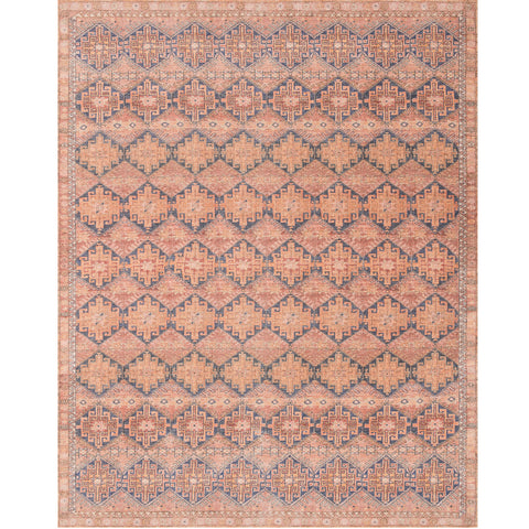 red-range and blue area rug with southwestern patterns