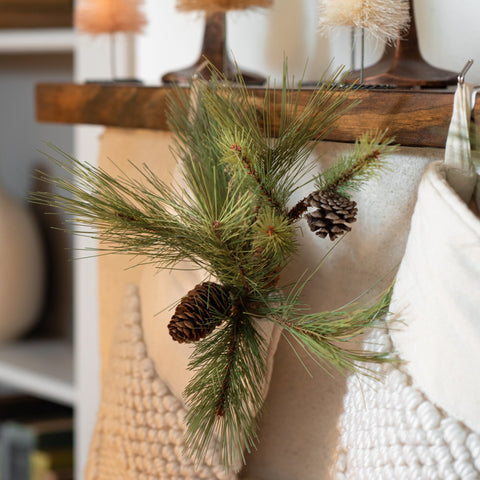 faux pine pick with pine cones