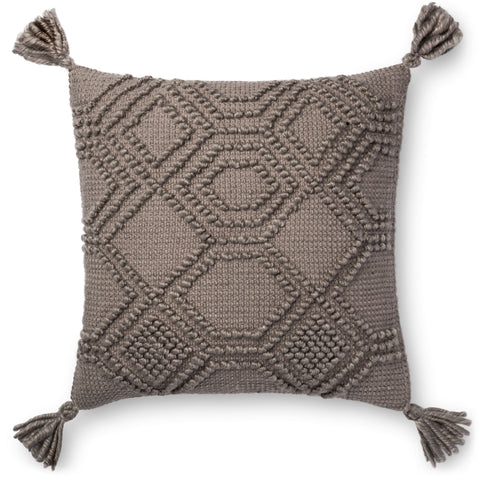 medium gray pillow with raised geometric patterns with tassels