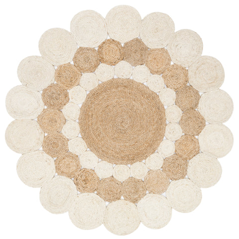 white and natural circle braided jute rug