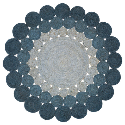 dark to light blue ombre circle braided jute rug