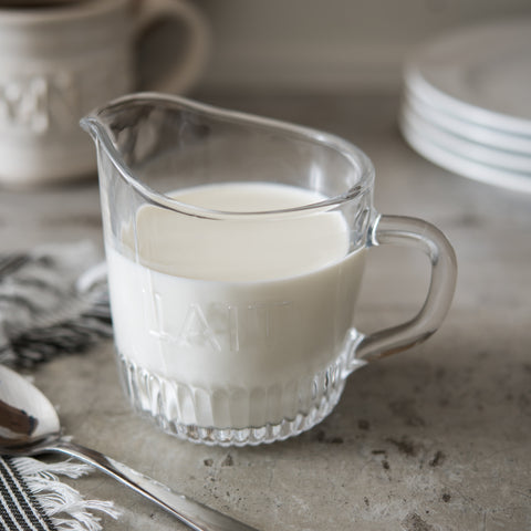 embossed glass cream pitcher