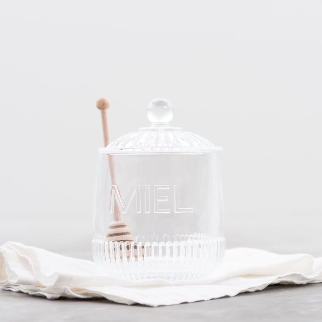 embossed glass honey jar with dipper