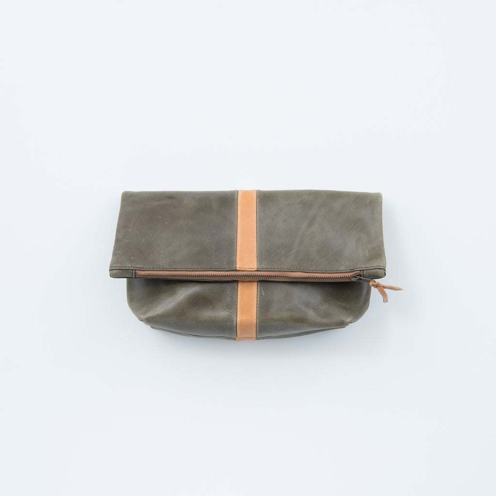 dark olive leather foldover clutch